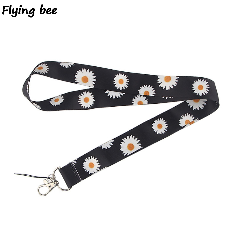 Flyingbee Daisy Keychain Cartoon Flower Phone Lanyard Women Fashion Strap Neck Lanyards For ID Card Phone Keys X0513