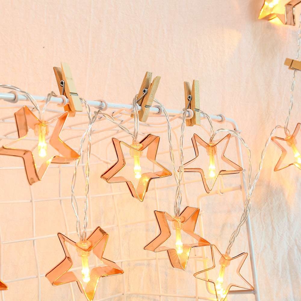 160cm 10LED Fairy String Light Waterproof Battery Rose Gold Five-Pointed Iron Hollow Room Decor For Holiday Christmas