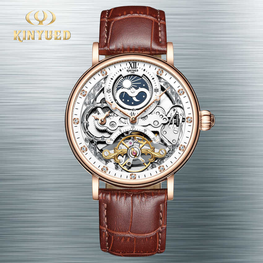 KINYUEDหลายนาฬิกาอัตโนมัติMensนาฬิกาMoon Tourbillonนาฬิกาข้อมือนาฬิกาข้อมือHorloges Mannen