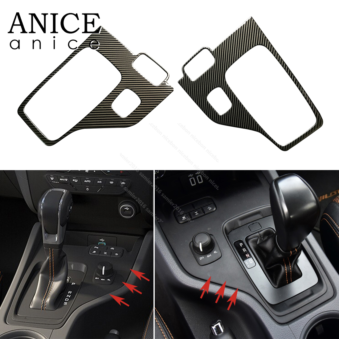 1pc Carbon Fiber Color Stainless Button Gear Panel Cover Fit For Ford Ranger Accessories 2015 2016 2017 2018 2019
