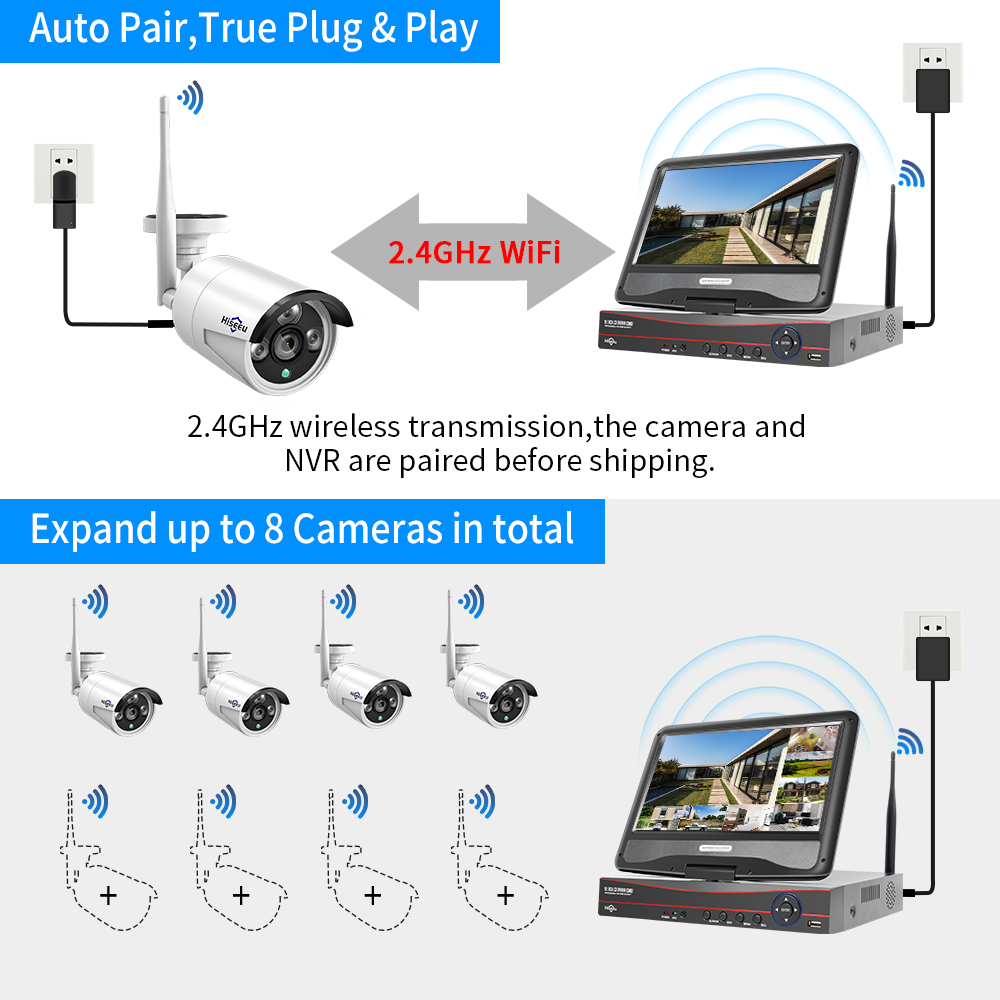 cheapest MISECU 8CH NVR 3MP CCTV Wireless System Audio Record Outdoor Waterproof P2P Wifi Security Ai Camera Set Video Surveillance Kit