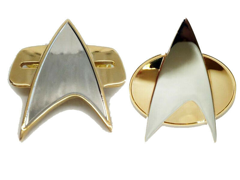 Trek Cosplay Star TNG Voyager DS-9 Cosplay Starfleet Brooch Badge Communicator Pin Box Halloween Carnival Prop Accessories
