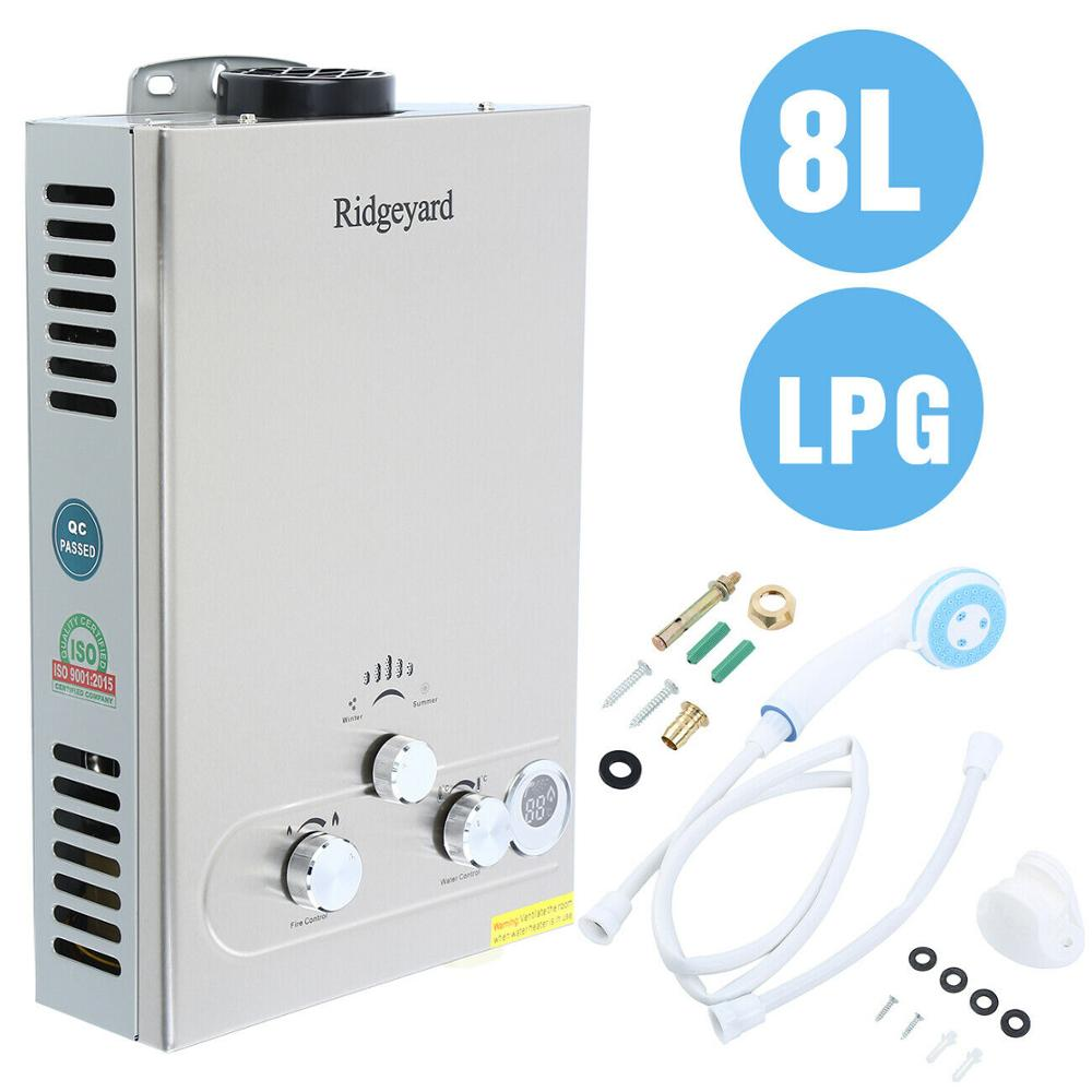 EU Free Shipping! 8L Propane Gas LPG Boiler Instant 2GPM Tankless Hot Water Heater Stainless Steel LCD With Shower Head