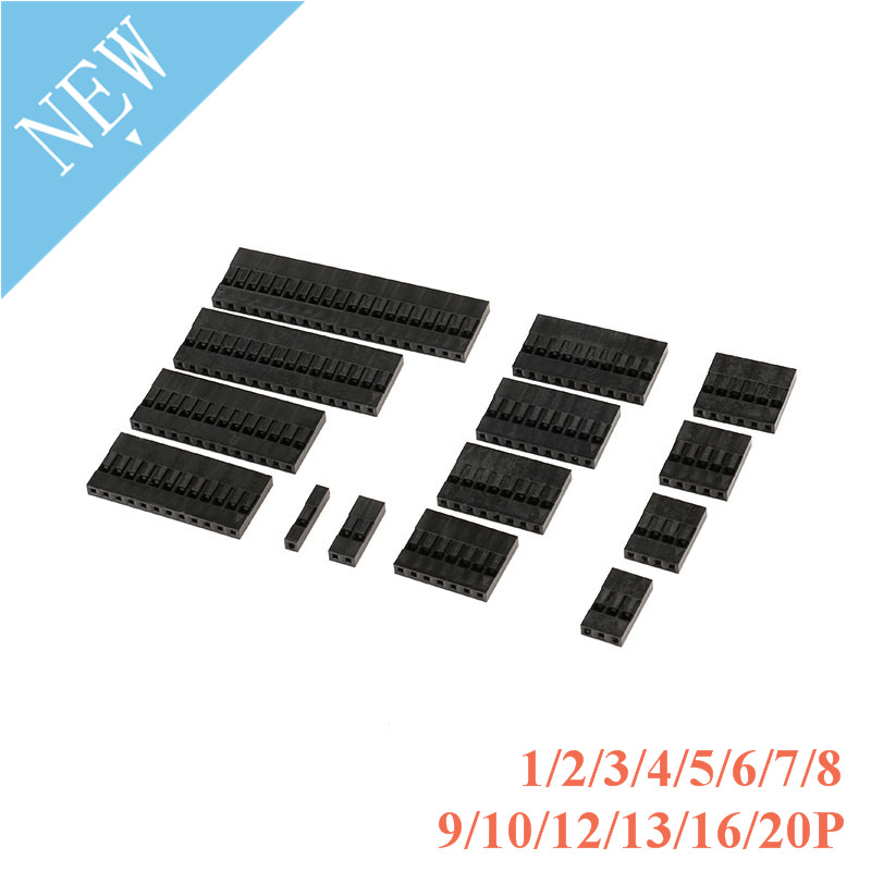 100pcs 2.54mm Pitch Connector 1/2/3/4/5/6/7/8/9/10/12/13/16/20 P Pin Single Row 2.54 Mm Plastic Shell Through Hole Housing Plug