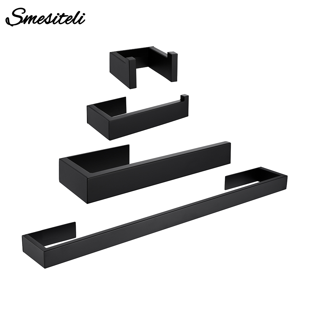 Black Stainless Steel Wall-mounted Towel Toilet Paper Hanger Wall Hook Bathroom Kitchen Shower WC Facility Hardware Accessories