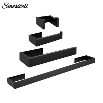 Black Stainless Steel Wall-mounted Towel Toilet Paper Hanger Wall Hook Bathroom Kitchen Shower WC Gluing Hardware Accessories