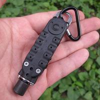 Mini controlador de bolsillo negro con destornillador hexagonal, mosquetón de luz Led para deportes al aire libre, herramientas EDC de autodefensa para acampar, Kits4.3 táctico
