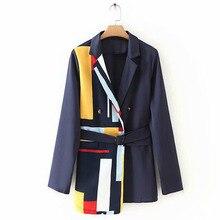 Jacket Patchwork Office-Coat Spring Ladies Suit Blazer Women Lace-Up Contrast EWQ Korean-Style
