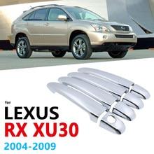 Alças cromadas capa guarnição conjunto para lexus rx xu30 30 2004 ~ 2008 rx300 rx330 rx350 rx400h acessórios adesivos estilo do carro 2005 2006
