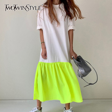 TWOTWINSTYLE Elegant Patchwork Hit Color Dress Women O Neck Half Sleeve Oversize Casual Midi Dresses Female 2020 Summer Clothes