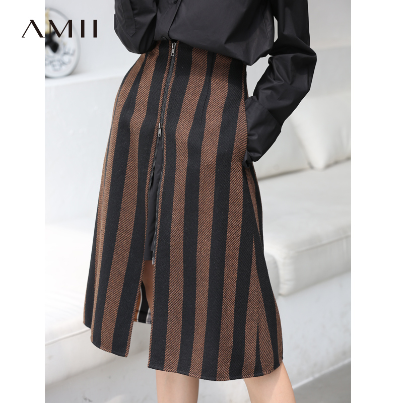 Amii Vintage Stripe Skirts Women Autumn Office Zipper Loose Mid Caif Female Skirts 11870410