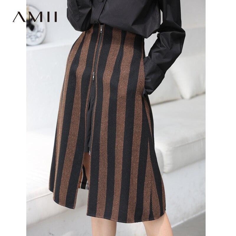 Amii Vintage Stripe Skirts Women Autumn Office Zipper Loose Mid Caif Female Skirts 11870410