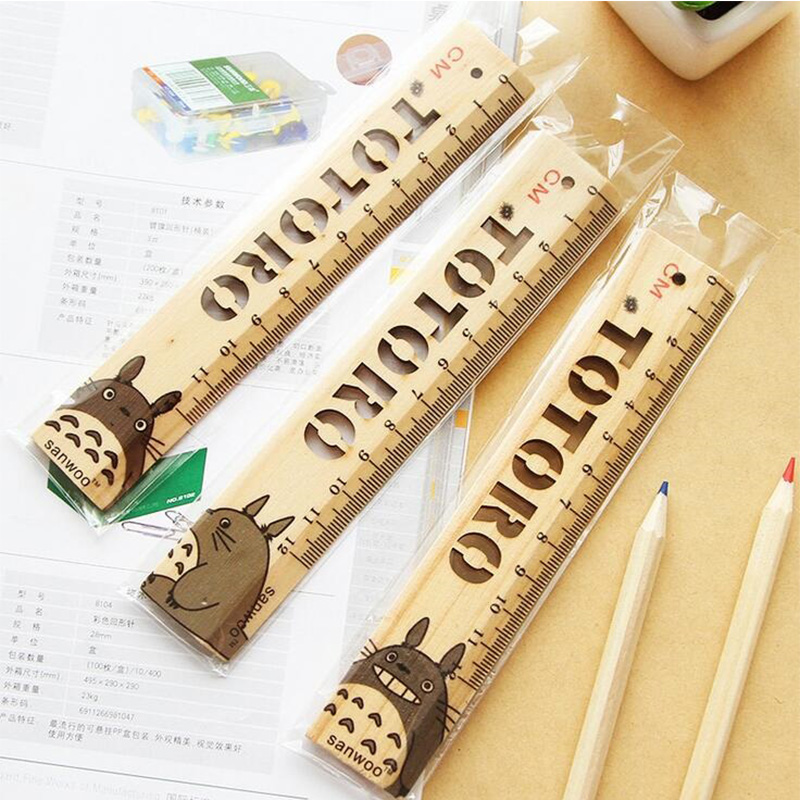 2pcs/Lot New Style Cartoon Pattern Wooden Ruler Japan Cartoon Character Wood Measuring Straight Ruler Office School Supplies