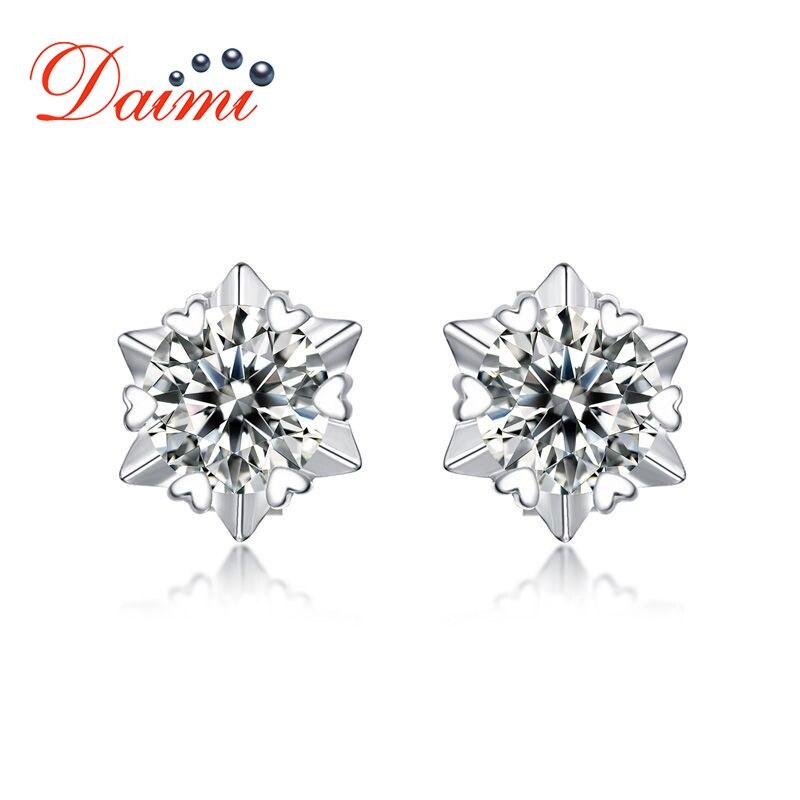DAIMI Moisanite boucles d'oreilles diamant 0.5 Carat romantique flocon de neige parfait 925 boucles d'oreilles en argent Sterling pour les femmes