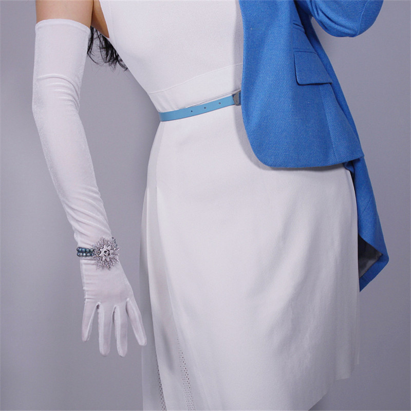 Velour Long Gloves 60cm Long Section Pure White Female High Elastic Swan Velvet Gold Velour Touchscreen Women Gloves WSR21