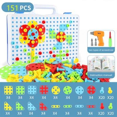 149/151/193/шт., игрушка для мальчика, креативные Развивающие игрушки для детей, электрическая дрель, собранные винты, инструмент, мозаика, строительная игрушка - Цвет: WJ3370C