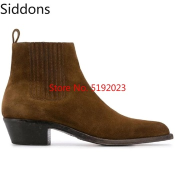 Moda zima mężczyźni skórzane Chelsea Boots zamszowe szpiczasty nosek kostki buty do sukienki męskie dorywczo Zapatos De Hombre D158 tanie i dobre opinie Pefect By Flock Rzym Stałe Wiosna jesień Slip-on Med (3 cm-5 cm) Pasuje prawda na wymiar weź swój normalny rozmiar