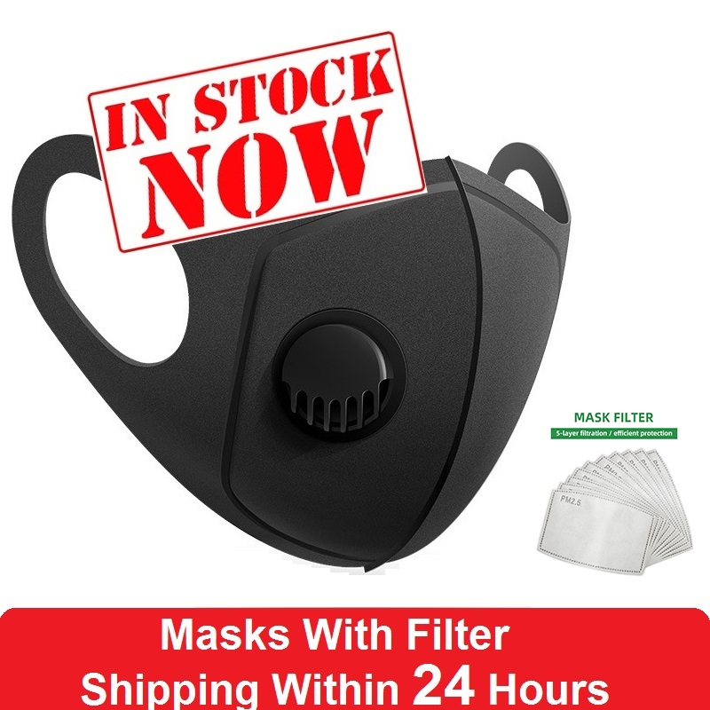 New Reusable Medical Masks Washable Adult 3D Face Mouth Mask Antivirus Reathable Valved Respirator With Activated Carbon Filter