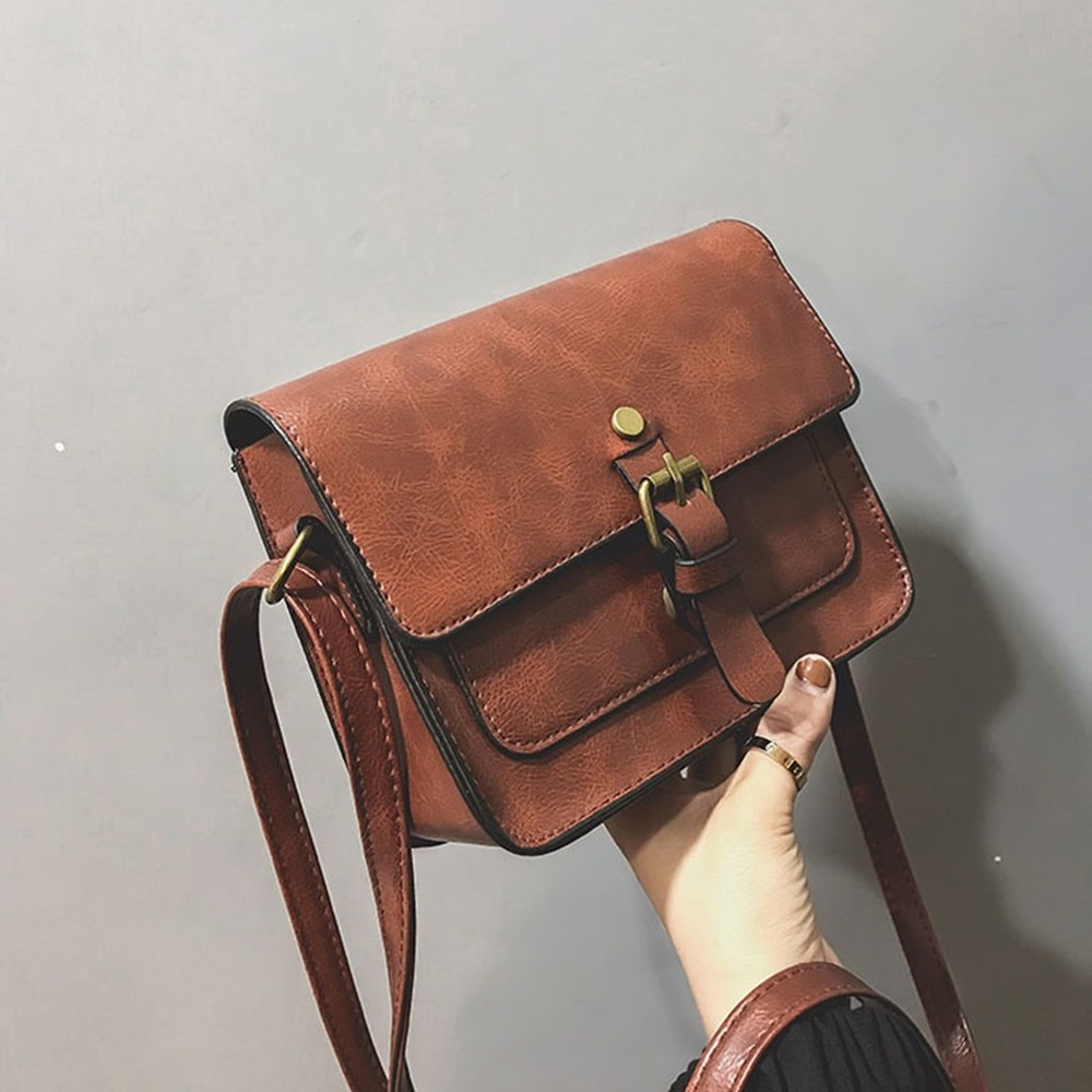 Quality Leather Vintage Female Shoulder Bag Small Women Messenger Bag Mini Casual Flap Bag Solid Ladies' Crossbody Bag Sac