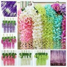 6 Colors Artificial Silk Flower Wisteria 12pcs/lot Vine Rattan Home Wedding Decoration 75cm and 110cm Available