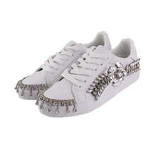 Glitter Silver Crystals Platform Sneakers Women White Casual Shoes Woman Rhinestone Wedding Flats Designer Sneaker Female Shoes(China)