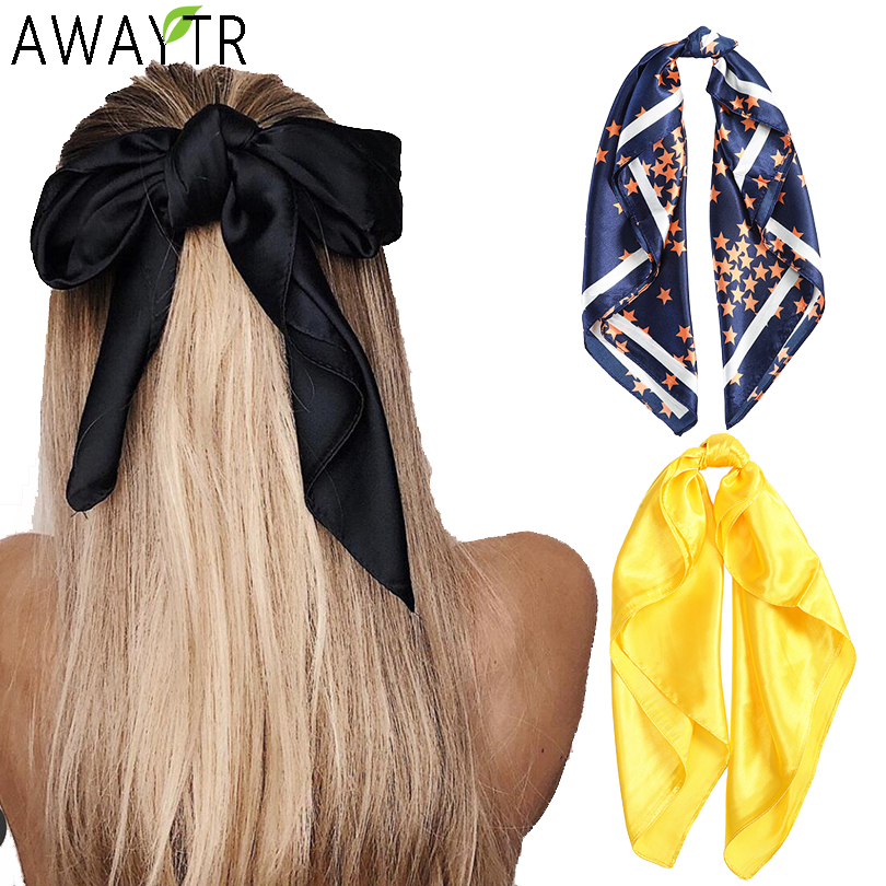 Women Print Hair Scarf Square Silk Neck Scarves Female Scrunchies Bow Headband Lady Ribbon Tie Hairbands Holder Hair Accessories