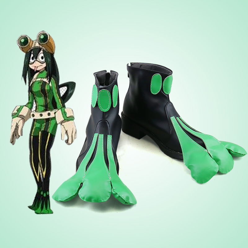 Details about  /My Hero Academia Asui Tsuyu FROPPY Cosplay Boots Handmade Cosplay Shoes Brown
