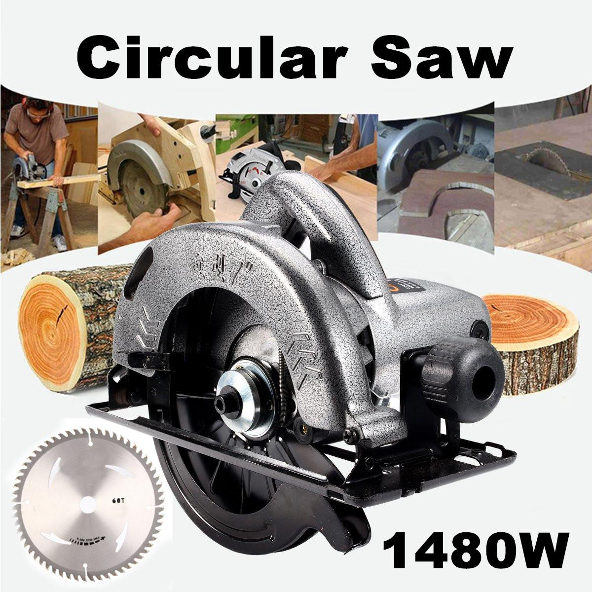 1480W Electric Corded Circular Saw Wood Cutting Tool Multi-function Cutting Machine Woodworking DIY Model Household Circular Saw