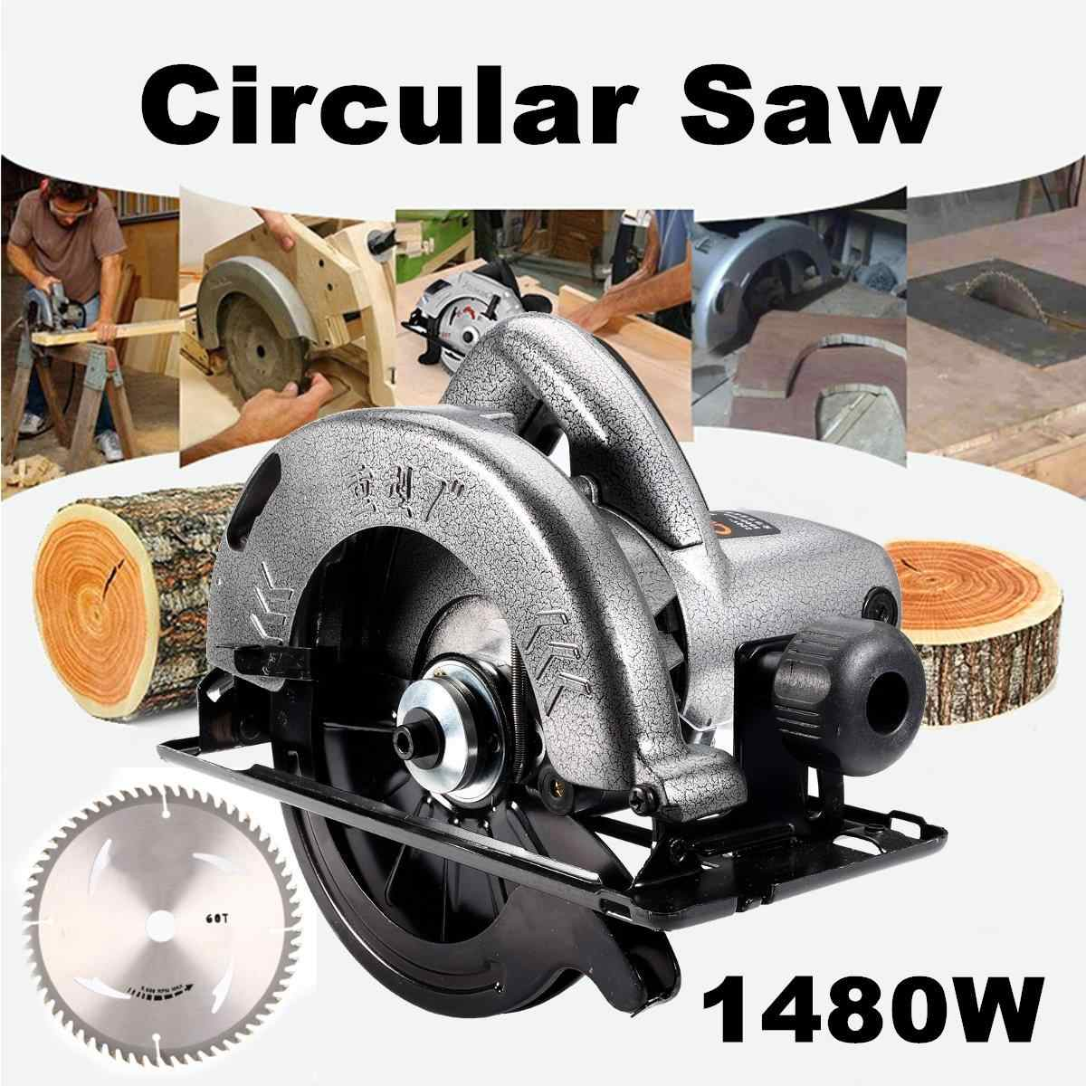 Listrik 1480W Dijalin Dgn Tali Circular Saw Pemotong Kayu Alat Multi-Fungsi Mesin Pemotong Woodworking DIY Model Rumah Tangga Circular Saw
