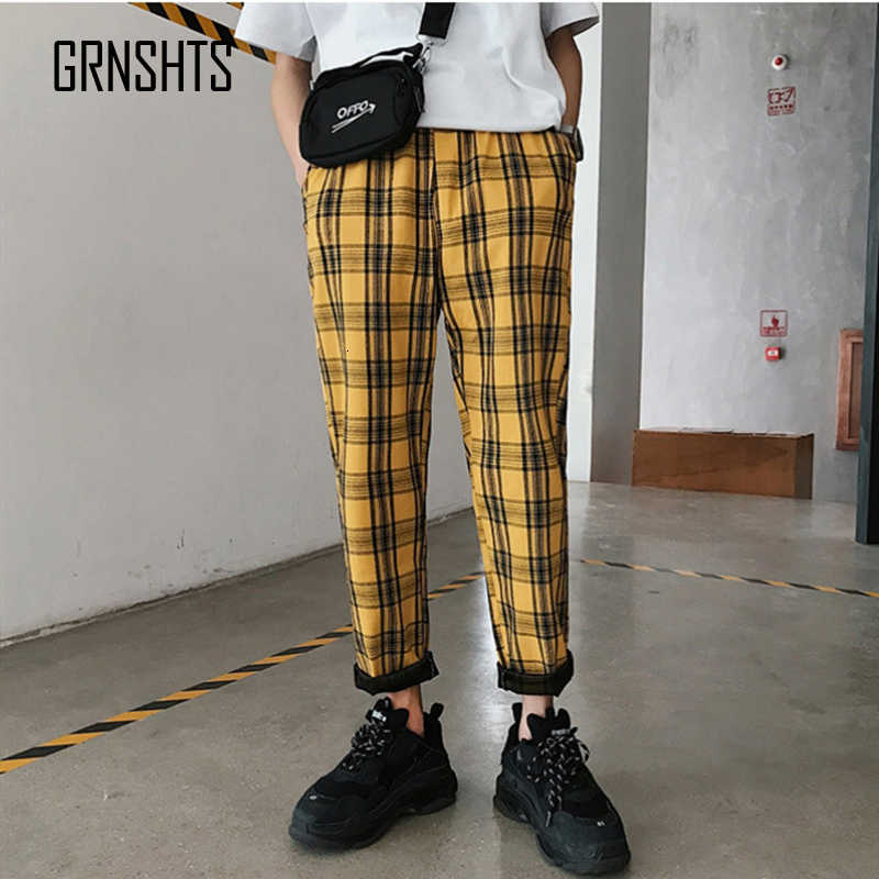Streetwear Pantalones A Cuadros Amarillos Para Hombre 2019 Para Hombre Pantalones Harem Rectos Casuales Para Hombre Pantalones Coreanos De Hip Hop Pista Pantalones De Talla Grande Pantalones Haren Aliexpress