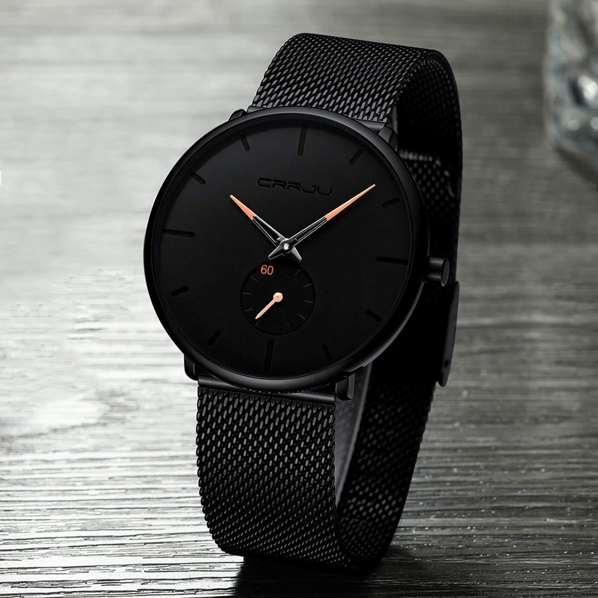 H836608d955b143eab4b7b0b24434a4dah CRRJU Ultra Thin Blue Stainless steel Quartz Watches Men Simple Fashion Business Japan Wristwatch Clock Male Relogio Masculino