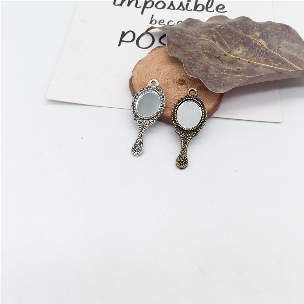 Vintage 12 pcs metal mini tiny mirror charms For diy hademade Jewelry Making Necklace earrings bracelet key chain(China)