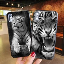 For iPhone 11 Fashion Black white fierce tiger Phone CaseFor X XS MAX 6 6S 7 8 Plus black Soft silicone Print cover
