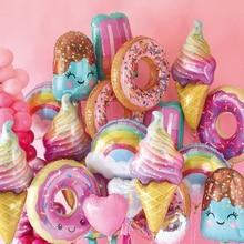 1 комплект пончик вечерние растут гирлянда шары мороженое бумажный Топпер на торт ткани помпоны Baby душ украшения для свадьбы дня рождения