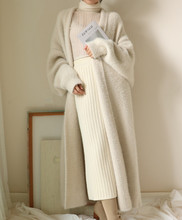 Long Fund Lazy Wind Easy Thickening Knitting Cardigan Sweater Woman Loose Coat