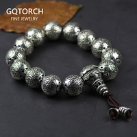 925 Sterling Silver Tibetan Buddhism Bracelet For Men And Women Six Words Mantras OM MANI PADME HUM Antiqued Metal Amulets Beads
