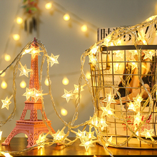 10M 80LED Battery Flash Christmas Star Garland String Fairy Lights Outdoor For Holiday Xmas Tree Party New Years Decoration