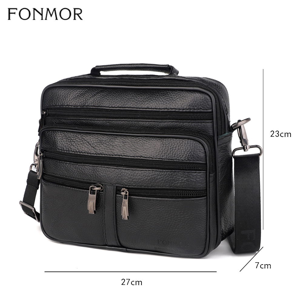Image 2 - Fonmor Genuine Leather Briefcase Male Laptop Cowhide Bag For Men  Messenger Shoulder Bags Business Crossbody Bag Multi Zip  PocketBriefcases