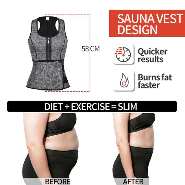 Women Neoprene Waist Trainer Sweat Sauna Suit Waist Cincher Slimming Vest Adjustable Waist Trimmer Belt Tank Top Shapewear 4