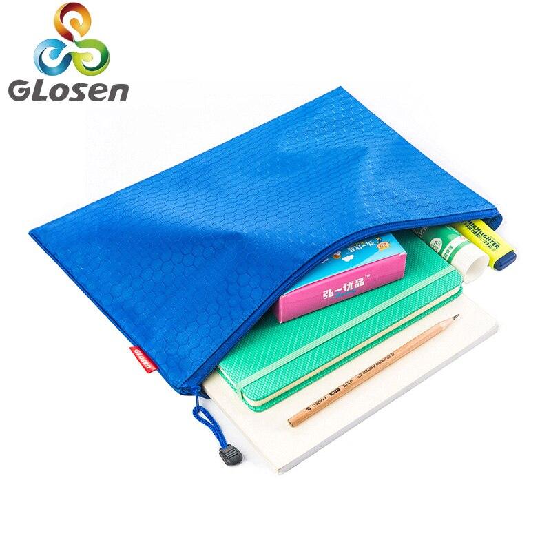 A4 Nylon File Waterproof Bag 1 Pcs Colorful Single Layer Canvas File Folder Book Pencil Pen Case Bag File Document Bags Glosen