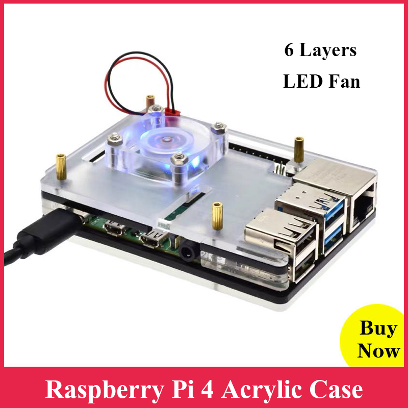 Raspberry Pi 4 Acrylic Case 6 Layers Case Box Enclosure For Raspberry Pi 4 Model B RPI 4B