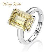 Wong Rain Classic 100% 925 Sterling Silver Created Moissanite Gemstone Wedding Engagement Diamonds Ring Fine Jewelry Wholesale