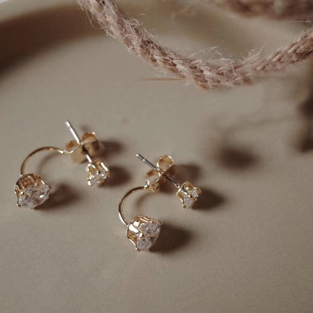Fashion Zircon Front And Back Stud Earrings For Women 2021 New Jewelry Korean Simple Earings Wholesale 6