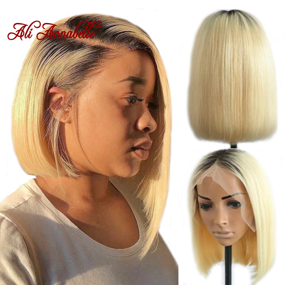 Lace Front Human Hair Wigs Blonde Straight 1B/613 Ombre Human Hair Lace Frontal Wig 13*4 Brazilian Short Bob Wigs ALI ANNABELLE