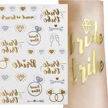 Team bride tribe Flash Temporary Tattoo Gold silver Metallic arrow Love bachelorette party Bridesmaid shower wedding decoration 1