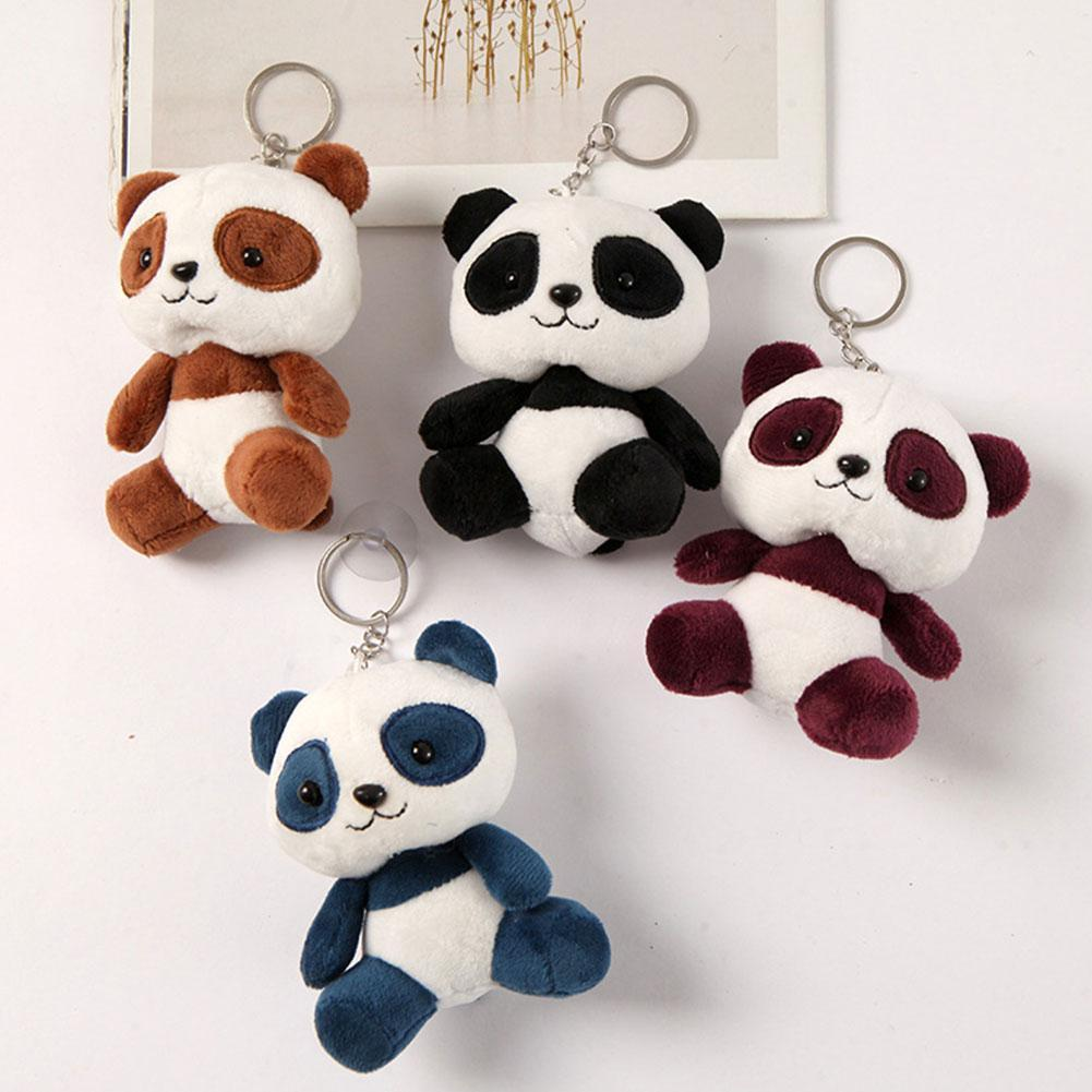 Cute Plush Doll Toy Simulation Panda Plush Stuffed Doll Toy Mini Panda Keychain Home Desk Decoration Adult Car Key Accessories