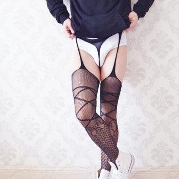 Men's Sexy Lingerie Stockings Garter Belt Fishnet Tights Exotic Cross Pantyhose Man Thigh High Stocking Sex Costumes New Black high waisted cut out fishnet garter tights