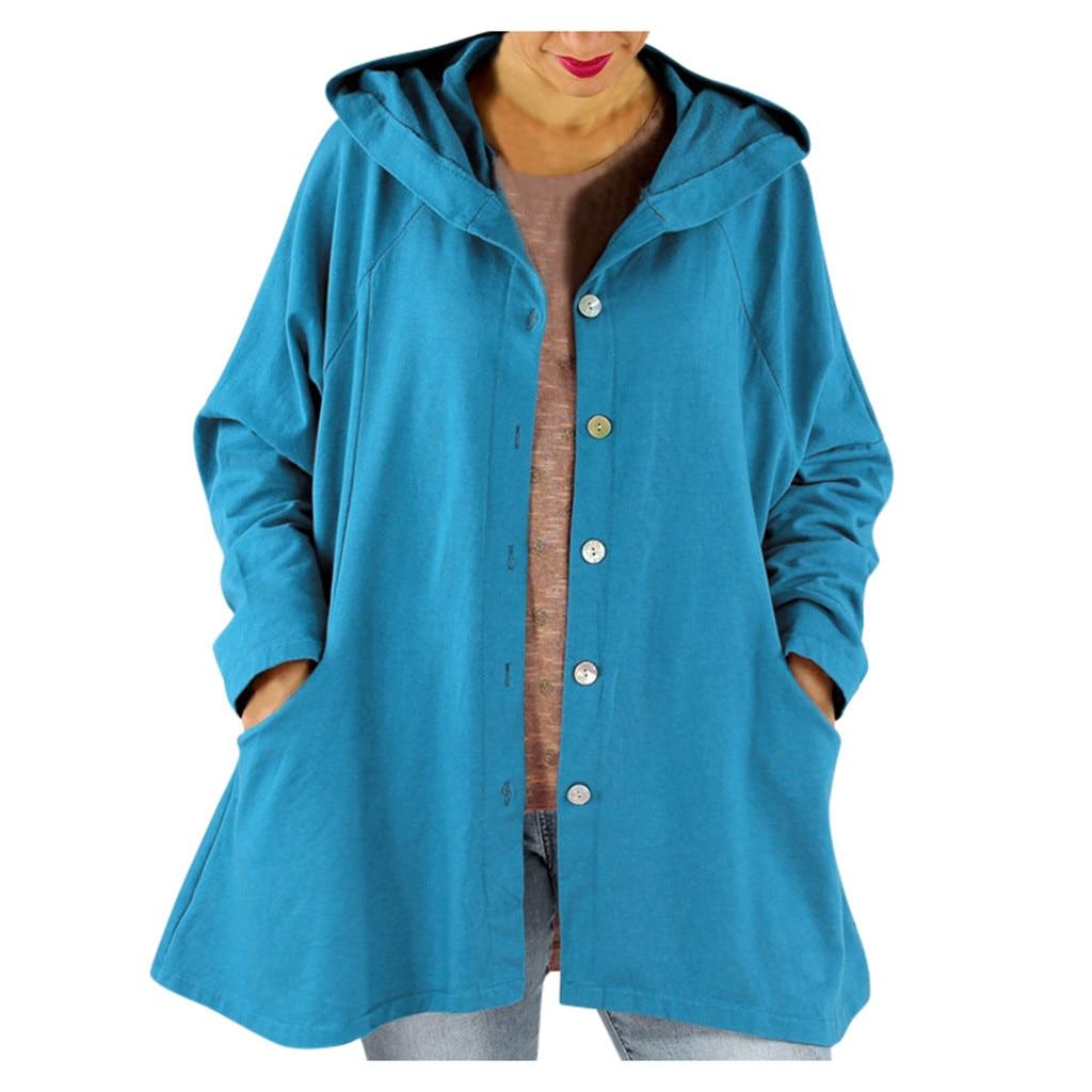 Jacket Women Coat Women Fashion Vintage Solid Button Cardigan Hooded Pocket Splice Long Sleeve Coats куртка женская Z4
