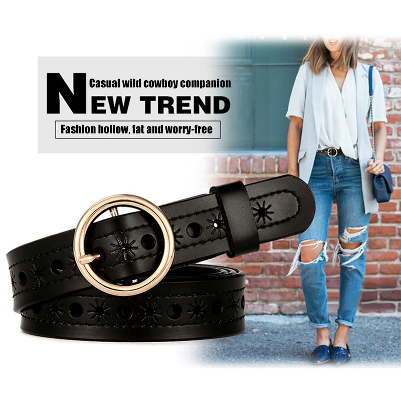 Female Deduction Side Gold Buckle Jeans Wild Belts For Women Fashion Students Simple New Circle Pin Buckles Belt A
