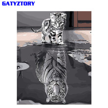 Купить с кэшбэком GATYZTORY Reflection Cat DIY Painting By Numbers Acrylic Paint On Canvas Modern Wall Art Picture Coloring By Numbers Home Decor